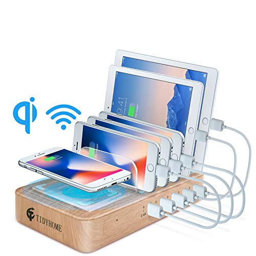Fast Charging Station for Multiple Devices, 5 Port USB Charger Station, Wireless Charging Station with 6 Mixed Cables, Multi Device Charging Docking Organizer for iPhone iPad and Android and Tablets