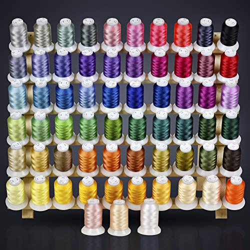 63 Colors Polyester Embroidery Machine Thread, 40-Weight, 550-Yd. – AZO-Free Sewing Supplies with Color Chart – Compatible with Brother, Babylock, Janome, Singer, Husqvarna, and More