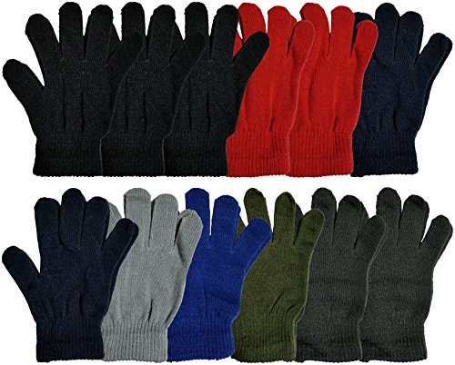 Winter Magic Gloves, 12 Pairs Unisex, Stretchy Warm Knit Bulk Pack One Size Mens Womens (12 Pairs Assorted Solids)