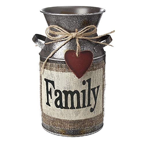 HIDERLYS 7.5' High Rustic Decorative Vase with Greetings and Rope Design, Metal Milk Can Country Jug for Living Room, Bedroom, Kitchen(Family)