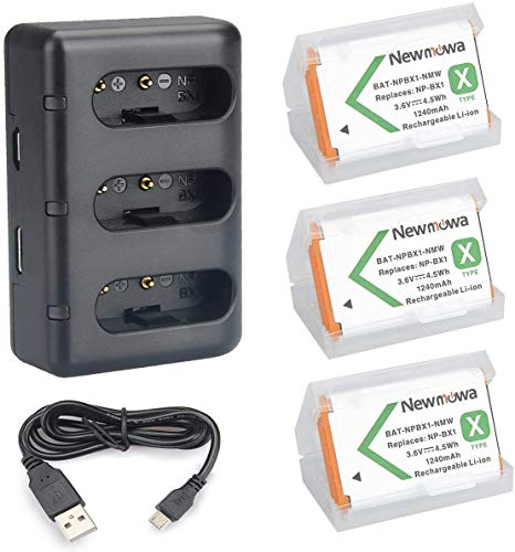 NP-BX1 Newmowa Replacement Battery (3-Pack) and 3-Channel USB Charger Set for Sony NP-BX1 and Sony Cyber-Shot DSC-RX100,DSC-RX100 II,DSC-RX100M II,DSC-RX100 III,DSC-RX100 IV,DSC-RX100 V/VII,ZV-1