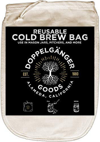 (1-Pack, Medium 8in x 12in) Organic Cotton Cold Brew Coffee Bag - Designed in California - Reusable Coffee Filter with EasyOpen Drawstring Cold Brew Maker for Pitchers, Mason Jars, & Toddy Systems