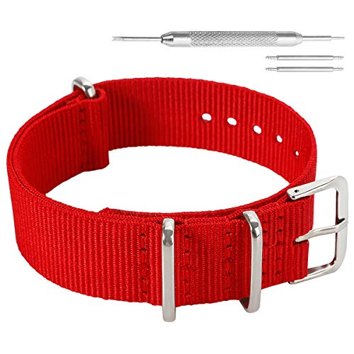 12mm Red High-end Upscale Soft NATO Style Ballistic Nylon Fabric Watch Band Strap Replacement for Women