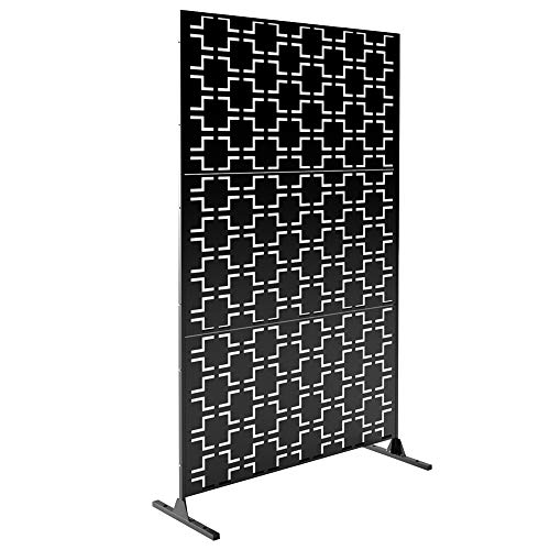 Veradek Quadra Decorative Outdoor Divider Set with Stand, Black