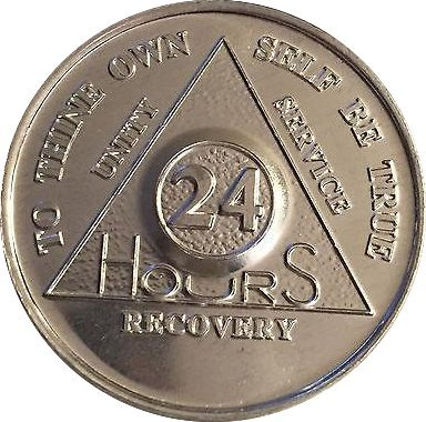 Lot of 25 Aluminum 24 Hour AA Alcoholics Anonymous Chips Medallions 24hrs