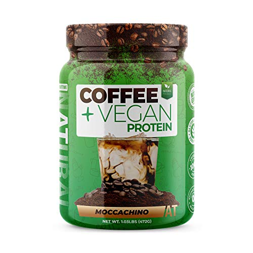 About Time Coffee + Vegan Protein (Non-GMO, All Natural, Lactose/Gluten Free, 16g of Protein Per Serving) - 1.03lb Jar, Coffee Mochaccino