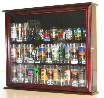 Tall Shot Glass Shooter Display Case Holder Small Wall Curio Cabinet (Mahogany Finish)