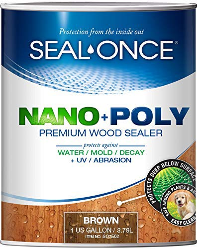 SEAL-ONCE Nano+Poly Ready Mix Penetrating Wood Sealer & Stain with Polyurethane (Brown) - Water-Based, Low-VOC, Waterproofing for Decks, Fences, siding & Log Homes. … (1 Gallon)…