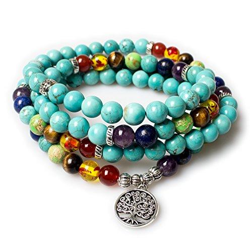 PWMENLK Turquoise Necklace,Mala Beads 108 Tree of Life 7 Chakra Tibetan Prayer Beads Healing Gemstone Turquoise Yoga Necklace Bracelet(Turquoise,Tree)