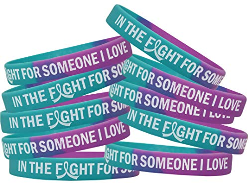 in The Fight for Someone I Love Suicide Awareness Silicone Wristband 10-Pack (Teal, Purple)