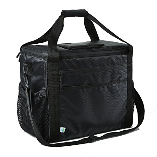 Fit & Fresh Insulated Extra Large Soft Cooler, 30-Can Capacity, Adjustable Shoulder Strap, Zipper Closure, Leak Proof Lining, Adults, Men, Women, Black