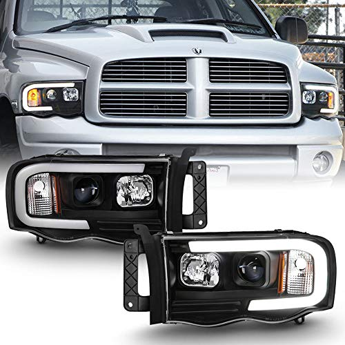 ACANII - For 2002-2005 Dodge Ram 1500 2500 3500 Black LED Tube Projector Headlights Assembly Headlamps Driver+Passenger