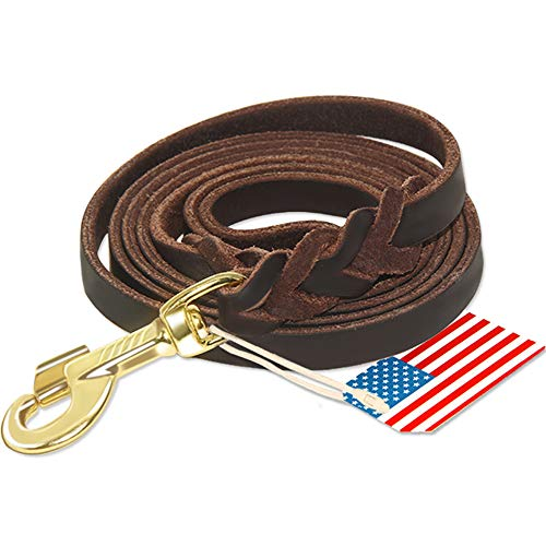 6ft Leather Dog Training Leash for Hunting Dogs or General Obedience