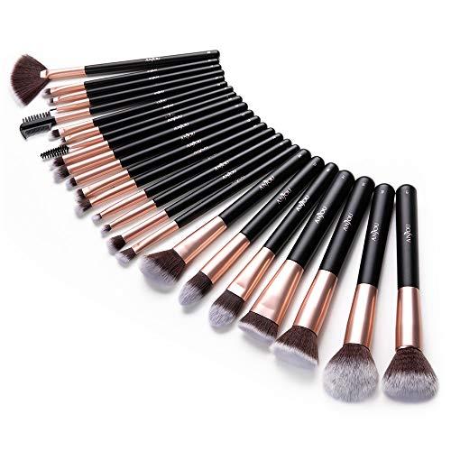 Anjou Makeup Brush Set, 24pcs Premium Cosmetic Brushes for Foundation Blending Blush Concealer Eye Shadow, Cruelty-Free Synthetic Fiber Bristles, Rose Golden