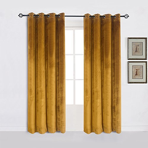 Cherry Home Super Soft Luxury Heavy Velvet Set of 2 Warm Yellow Blackout Energy Efficient Grommet Curtain Panel Drapes Ginger Mustard Curtain Panels 52Wx84L