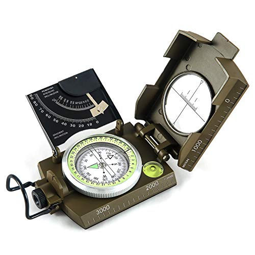 Eyeskey Multifunctional Military Metal Sighting Navigation Compass with Inclinometer   Impact Resistant & Waterproof Compass for Hiking, Camping, Boy Scout (Green)