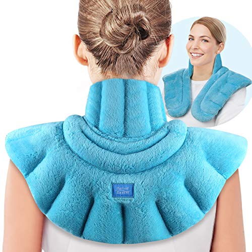 Relief Expert Microwavable Heating Pad for Neck Shoulders and Back, Extra Large Weighted Microwave Heated Neck Wrap for Pain Relief - 4LBs