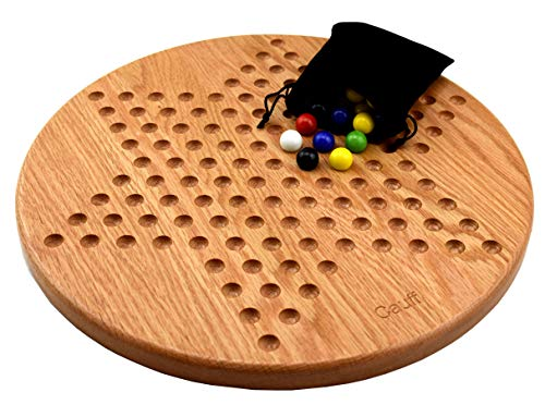 14 inch Solid Oak Wooden Chinese Checkers Board Game