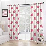 Pig Decor Collection 99% Blackout Curtains Piggy Bank Pattern Money Wealth Luck Symbols Fun Design Artwork for Bedroom Kindergarten Living Room W63 x L72 Inch Pink and White