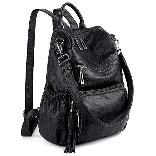 UTO Women Backpack Purse Leather Vegan Ladies Fashion Designer Rucksack Convertible Travel Shoulder Bag with Tassel Black