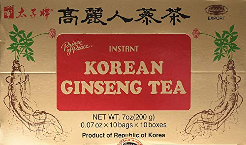 Prince of Peace Korean Ginseng Instant Tea, 100 Sachet – Natural Red Panax Ginseng Tea – Korean Ginseng Extract – Easy to Brew Hot or Cold – Herbal Chinese Tea Sachets – Promotes Overall Health and