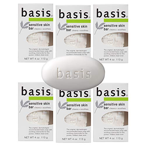 Basis Sensitive Skin Bar Soap - Body Wash Bar Cleans and Soothes with Chamomile and Aloe Vera - 4 oz. Bar Soap (Pack of 6)