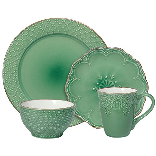 Pfaltzgraff French Lace Dinnerware Set, 16 Piece, Green