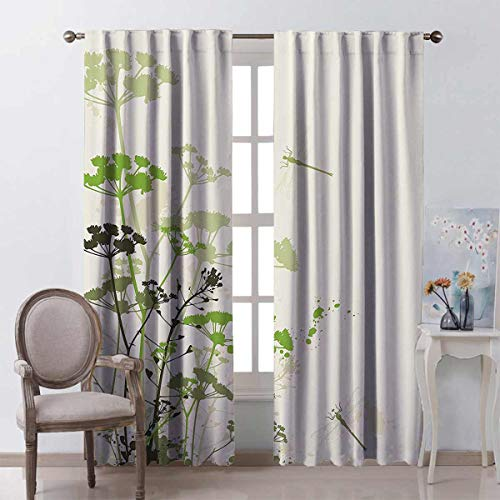 Country Decor Collection Energy-Saving and Noise-reducing Minimalist Foliage and Herbs Illustration with Dragonflies Winged Insects Mystic Animal Rod-Shaped Pocket Curtains for The Living Room W72 x
