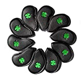 LOXASUM Black Synthetic Leather Golf Iron Head Covers Set 10 Pcs Headcover with Clover Embroideried,Easily get The Needed Iron for Titleist, Callaway, Ping, Taylormade, Cobra
