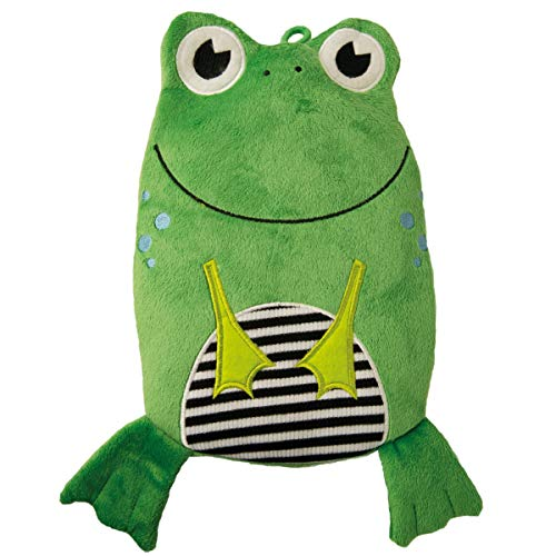 Hugo Frosch, 0.8 L Kids Eco Hot Water Bottle, with Animal Cover, Smiley Frog - Made in Germany