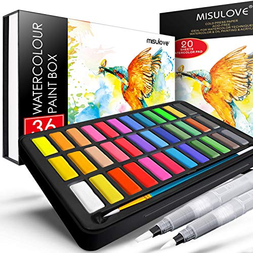 MISULOVE Watercolor Paint Set, 36 Premium Colors in Gift Box with Bonus Watercolor Paper Pad and Water Brushes, Perfect for Kids, Adults, Beginners, Artists Painting, Sketching, and Illustrating