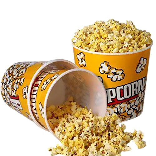 Novelty Place] Retro Style Plastic Popcorn Containers for Movie Night - 7.25' Tall x 7.25' Top Diameter (6 Pack)