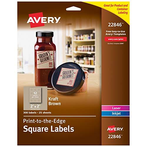 Avery Square Labels for Laser & Inkjet Printers, 2' x 2', 300 Kraft Brown Labels (22846)