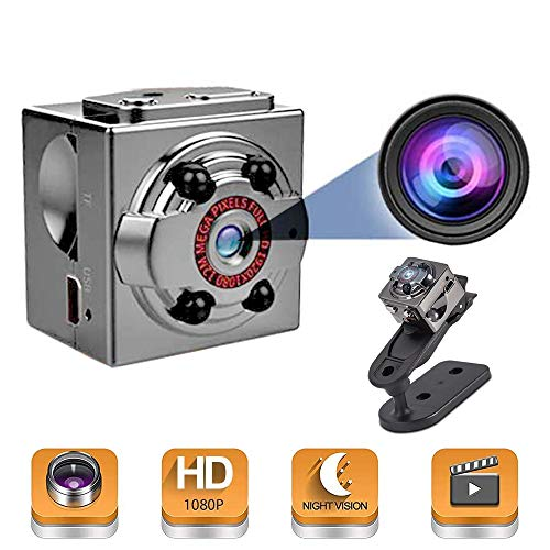 Mini Cop Cam, 1080P Full HD Nanny Hidden Cam Action Cameras, Night Vision & Metallic Material Camera for Indoor Outdoor Portable Secret Surveillance Covert Security Camera(SD Card Not Included