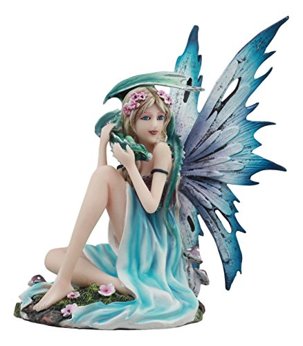 Gifts & Decors Ebros Water Elemental Fairy with Green Dragon Statue 7' Tall Whimsical Khaleesi Fairy with Juvenile Dragon Collector Figurine