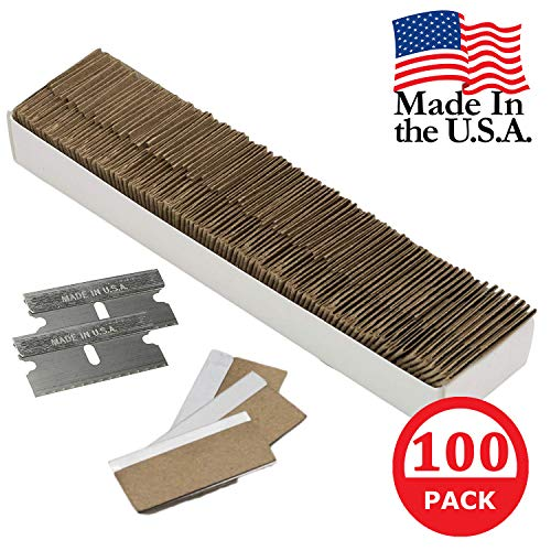 Razor Blades Utility: Single Edge Razor Blades 100 Pack, Razor Blade Scraper Refills, Steel Box Cutter Blades USA-Made, Safety Straight Edge Razor Blades, Paint Scraper Razor Blade by WEUPE