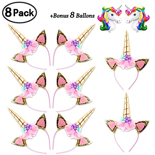 DaisyFormals Unicorn Headband Set(8 Pack)Shiny Gold Glitter Flowers Ears Headbands for Girls Adults Birthday Halloween Party Costume + 8 Free Unicorn Balloons