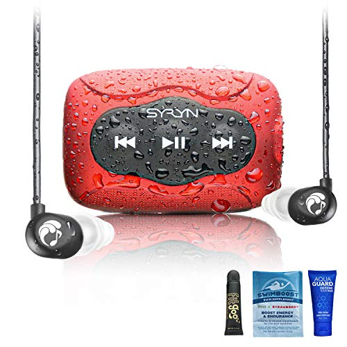 SYRYN 8 GB Waterproof Music Player (Compatible with iTunes Files) and Swimbuds Flip Headphones