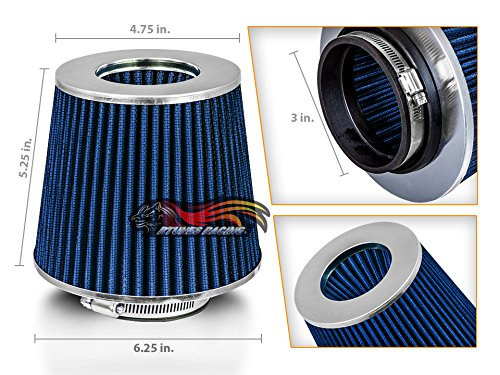 BLUE 3' 76 mm Inlet Cold Air Intake Cone Replacement Performance Washable Clamp-On Dry Air Filter…
