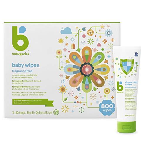 Babyganics Wipes + Rash Set - 800 Ct Baby Wipes, Diaper Rash Cream, 2 Items