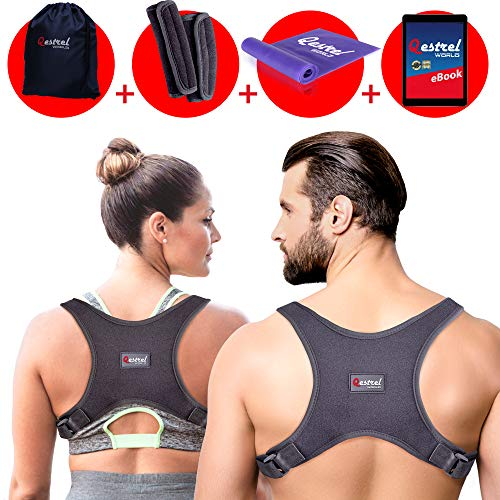Qestrel World Back Straightener Posture Corrector For Men And Women - Adjustable Pain Relief Back Brace Supporting Neck, Back and Shoulder