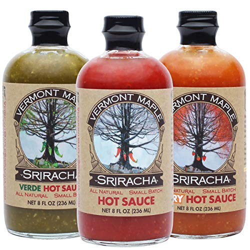 Vermont Maple Sriracha, Hot Sauce Sampler and Gift Set, Original, Verde and Very Hot (Pack of 3)