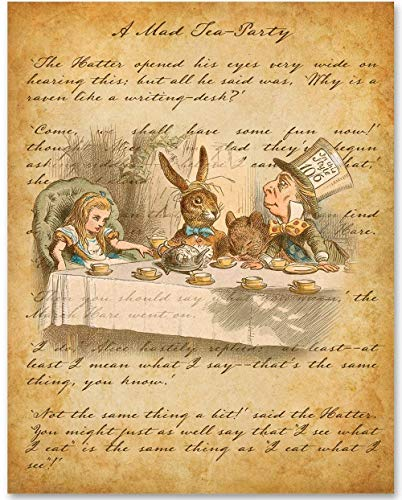 Mad Hatter - A Mad Tea-Party - 11x14 Unframed Alice in Wonderland Print - Great Nursery and Children's Room Decor and Gift Under $15 for Lewis Carroll Fans
