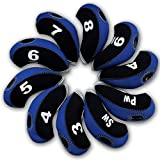 Carvesky Golf Head Covers, Wedge Neoprene Headcovers Protective for All Golf Club Iron, 10pcs/Set (Black+Blue)