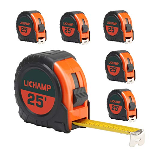 LICHAMP Tape Measure 25 ft, 6 Pack Bulk Easy Read Measuring Tape Retractable with Fractions 1/8, Measurement Tape 25-Foot by 1-Inch