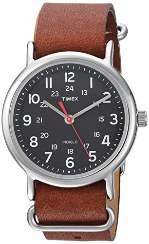 Timex Unisex TW2R63100 Weekender 38mm Brown/Black Leather Slip-Thru Strap Watch