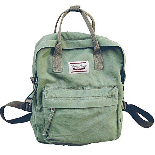 LuckyZ Backpacks Womens Casual Style Lightweight Cloth Canvas Backpack School Bag Travel Daypack Medium Handbag Purse, Green