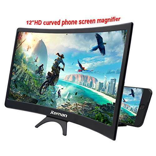 jteman 12'' Curved Screen Magnifier Mobile Phone 3D Magnifier Projector Screen for Movies, Videos, and Gaming Foldable Phone Stand with Screen Amplifier for iPhone,All Smartphones