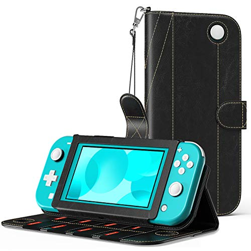 MoKo Case Compatible with Nintendo Switch Lite, PU Leather Anti-Scratch Cover with Inside Pocket, Built-in 8 Game Card Slots, Dust-Proof Protective Case Compatible with Switch Lite 2019 - Black