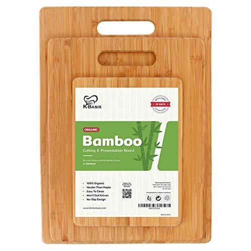 K BASIX Bamboo Cutting Board Set (3-Pcs) - Premium 100% Organic Wood Cutting Board for Chopping Meat (Butcher Block),Veggies & Cheese - Natural Antibacterial Cutting Boards for Kitchen-Non Slip Design